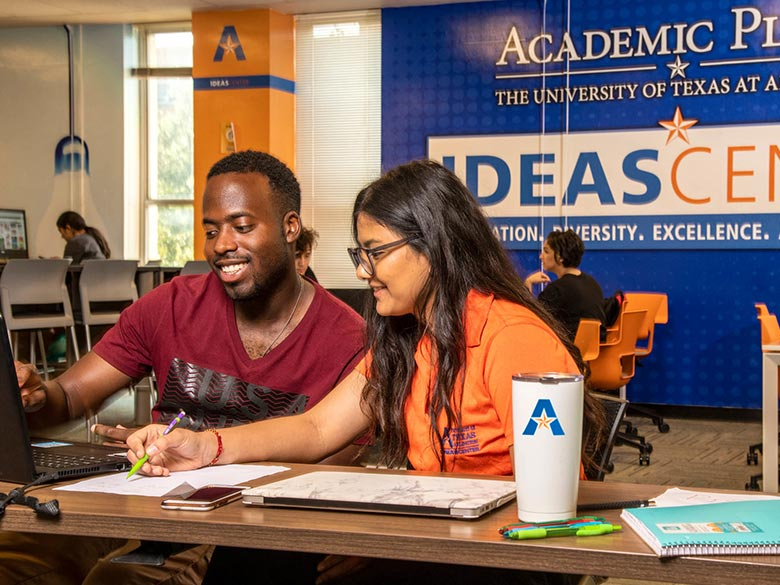 Students studying in the Idea Center.