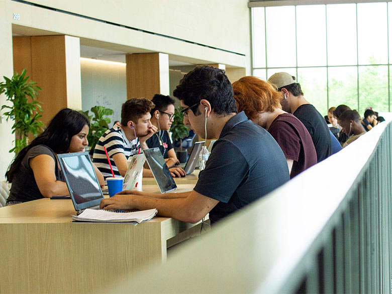 Students studying in the SEIR building.