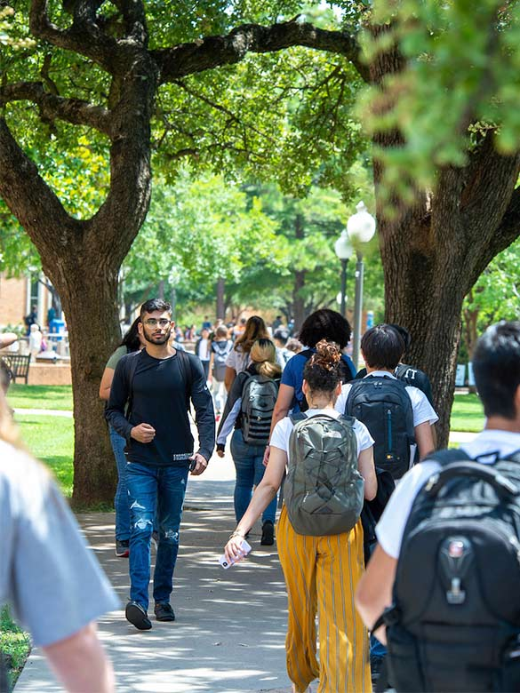 Students walk between classes in the library mall.