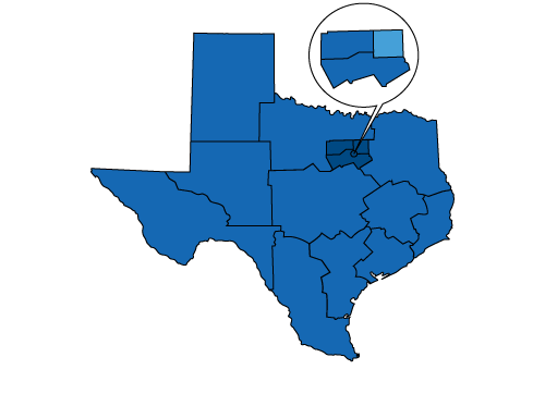 Map of Texas highlighting the Dallas region