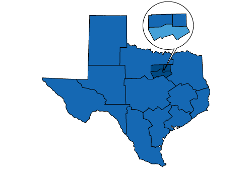 Map of Texas highlighting the local area of North Texas