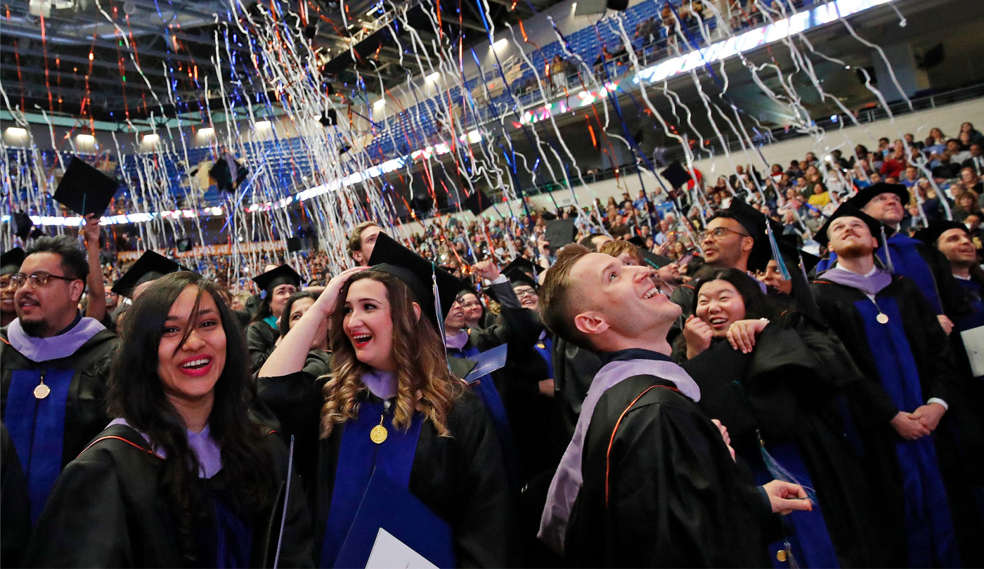 Students celebrating at commencement