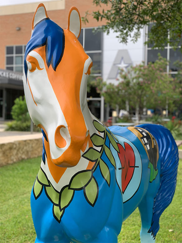 Spirit Horse in front of UTA Bookstore.