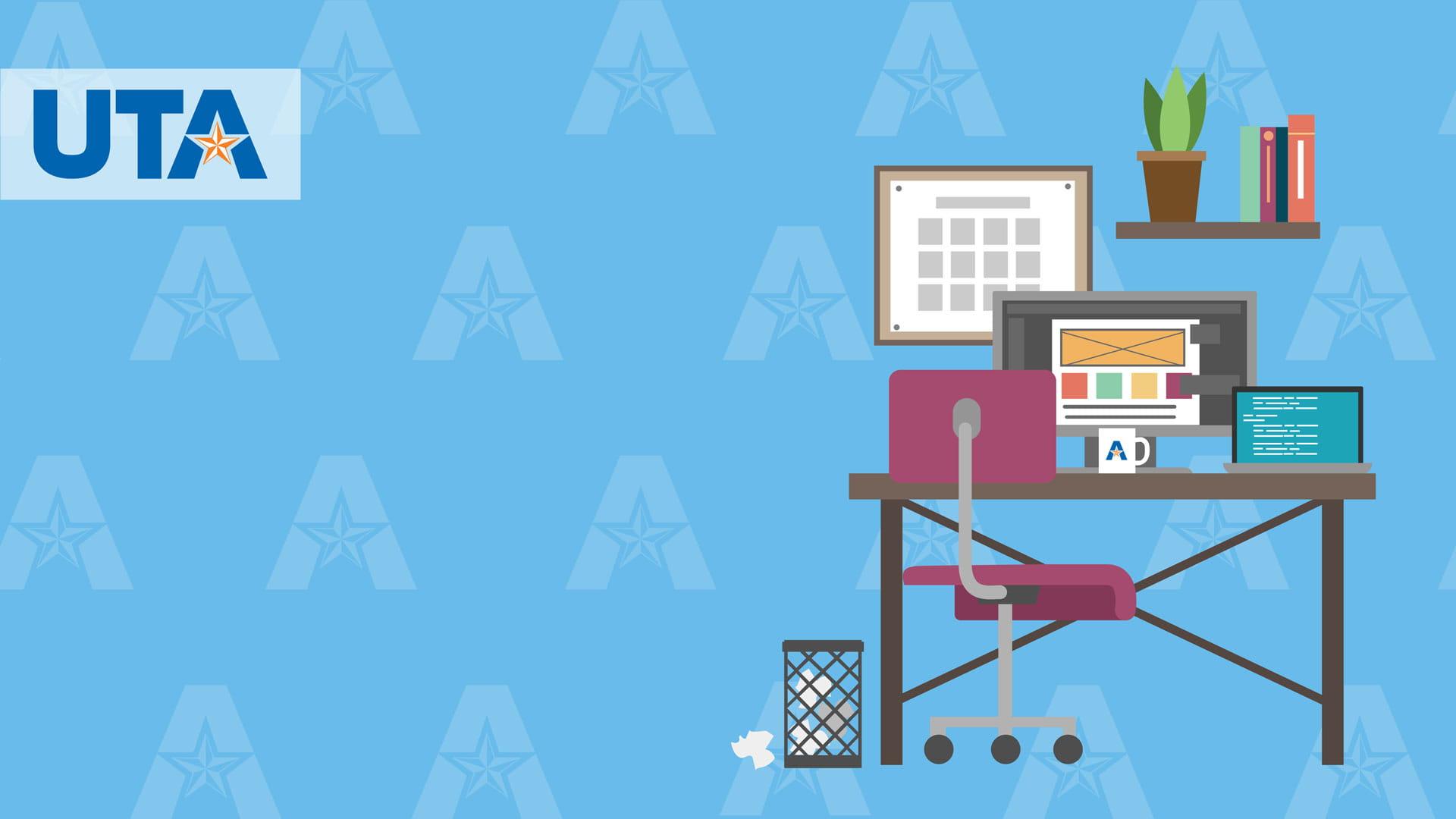 Light blue U-T-A branded office background