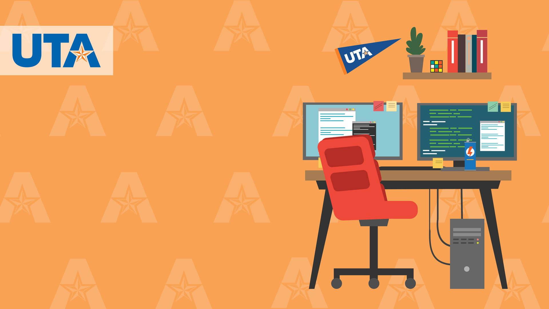 Orange U-T-A branded office background