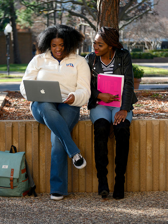 Students sitting on ledge looking at a computer