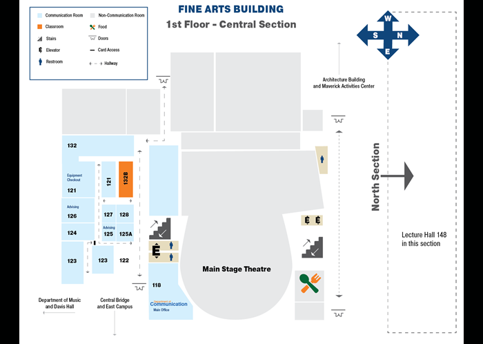 Map of the first floor of the Central Section Fine Arts Building
