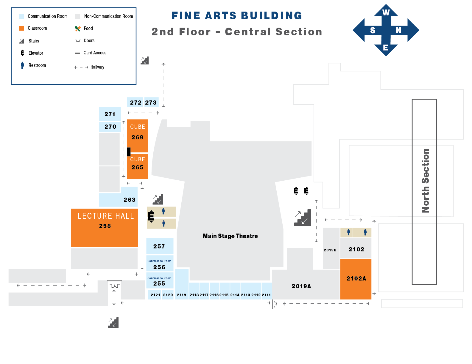 Map of the second floor of the Central Section Fine Arts Building