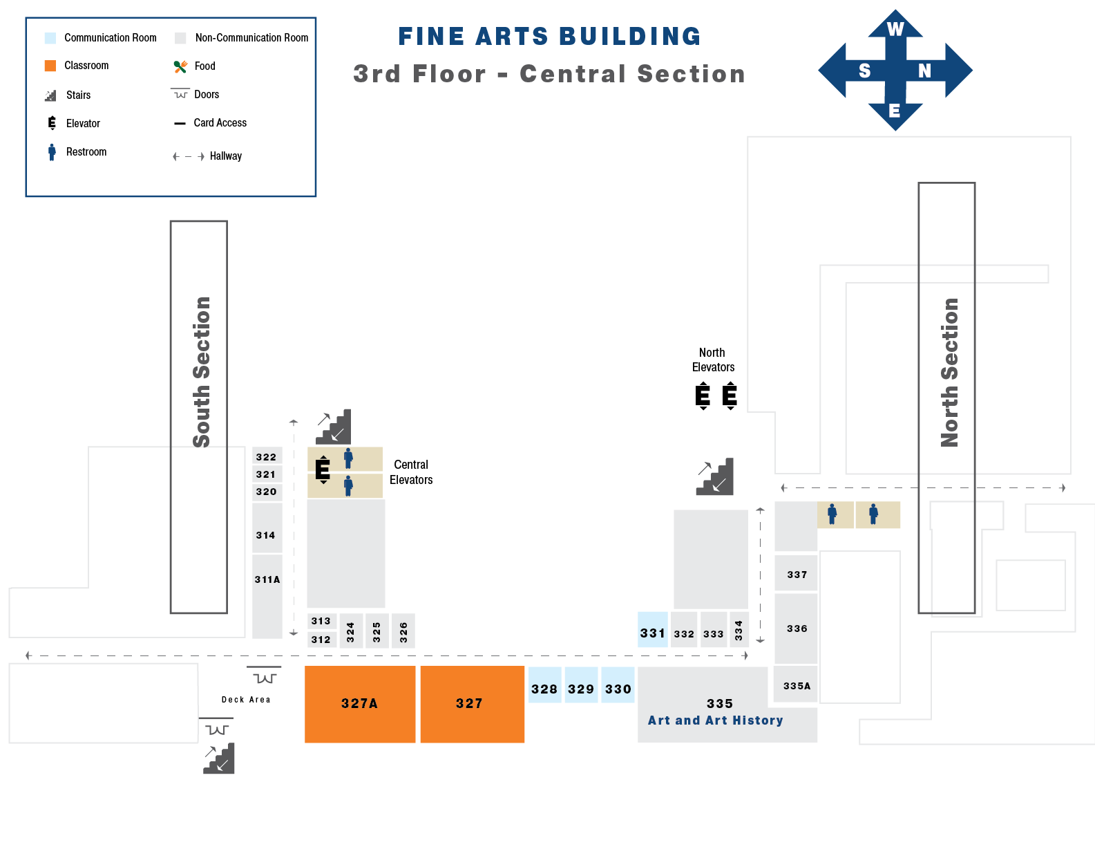 Map of the third floor of the Central Section Fine Arts Building
