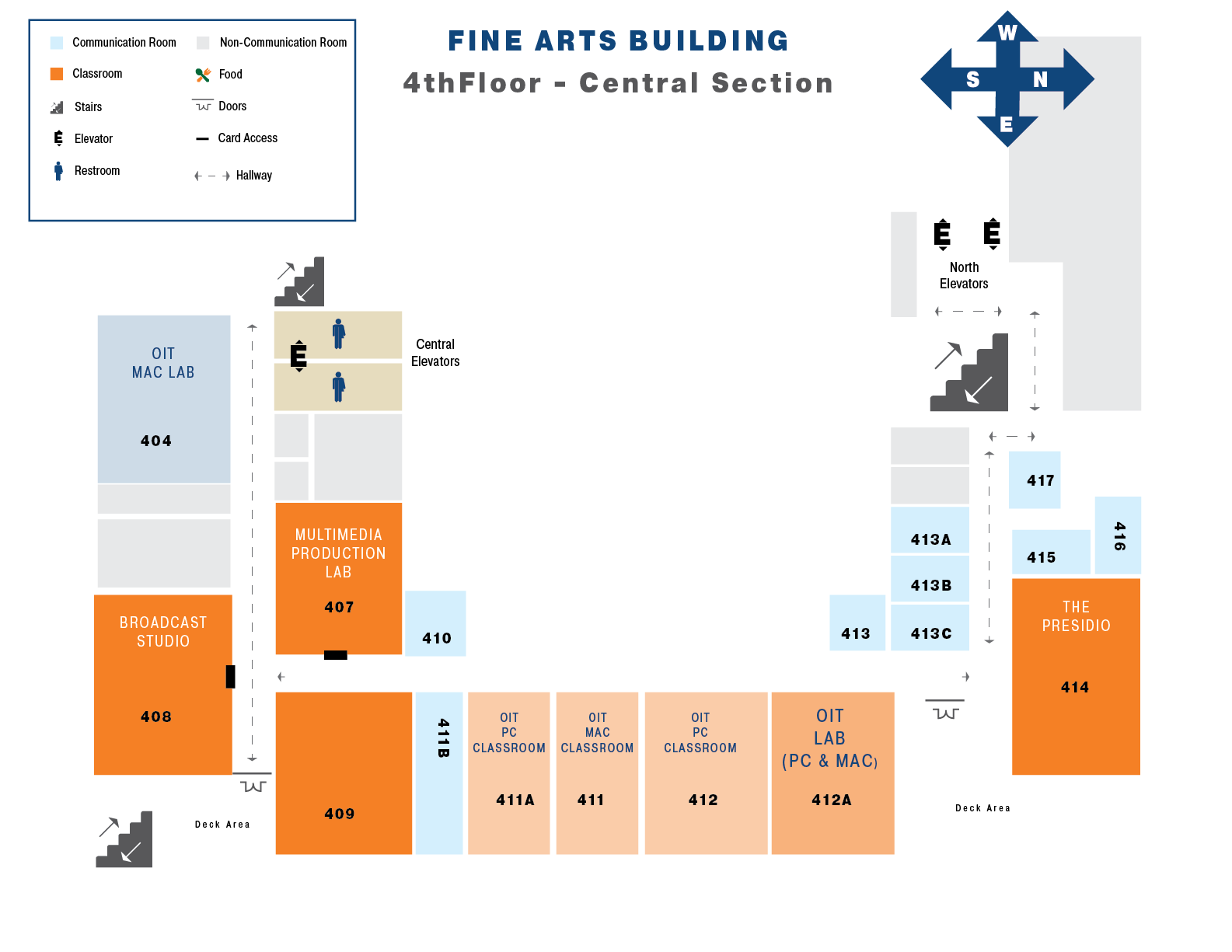 Map of the fourth floor of the Central Section Fine Arts Building
