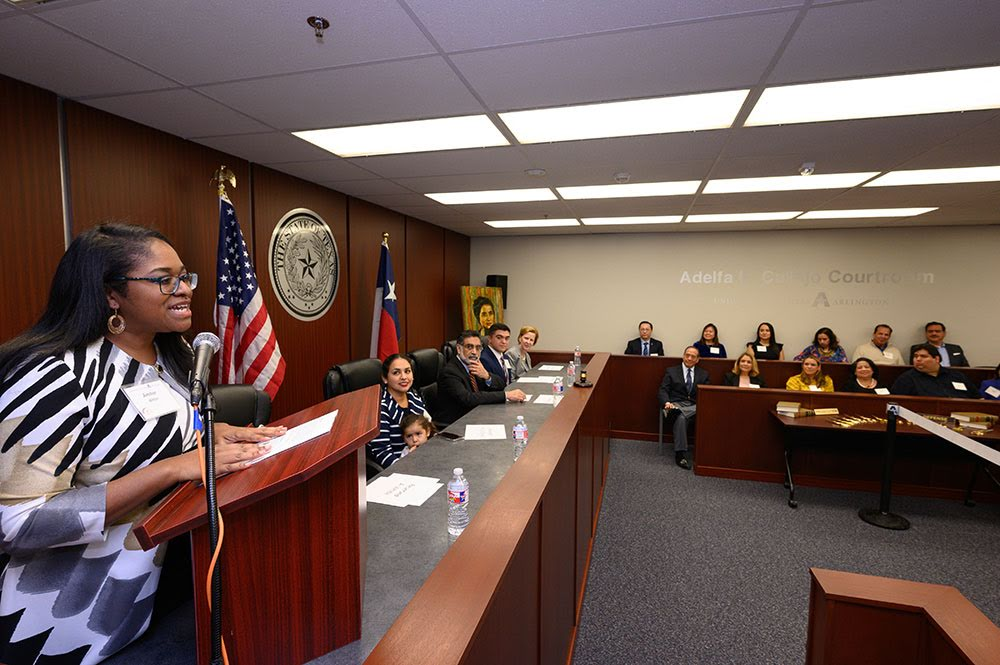 students participating in a mock trial