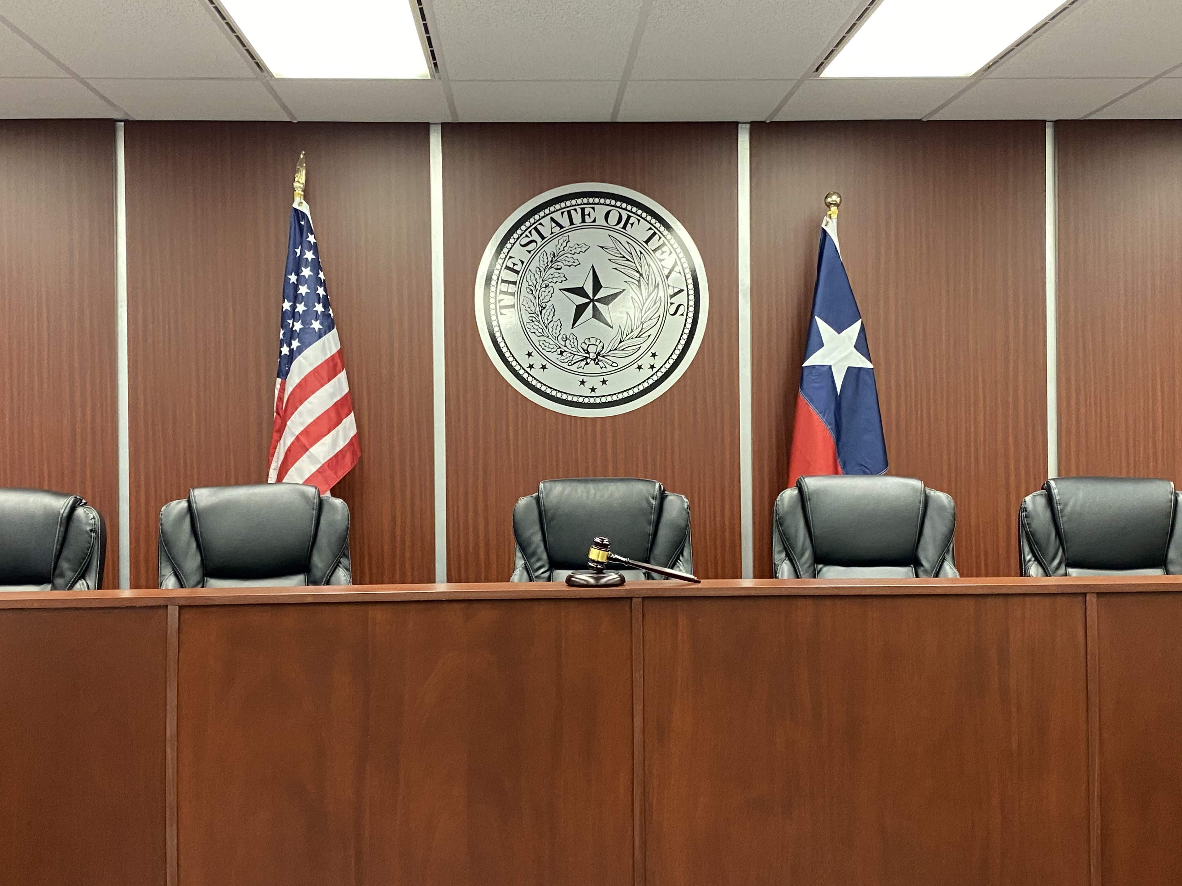 Amber White mock courtroom desk