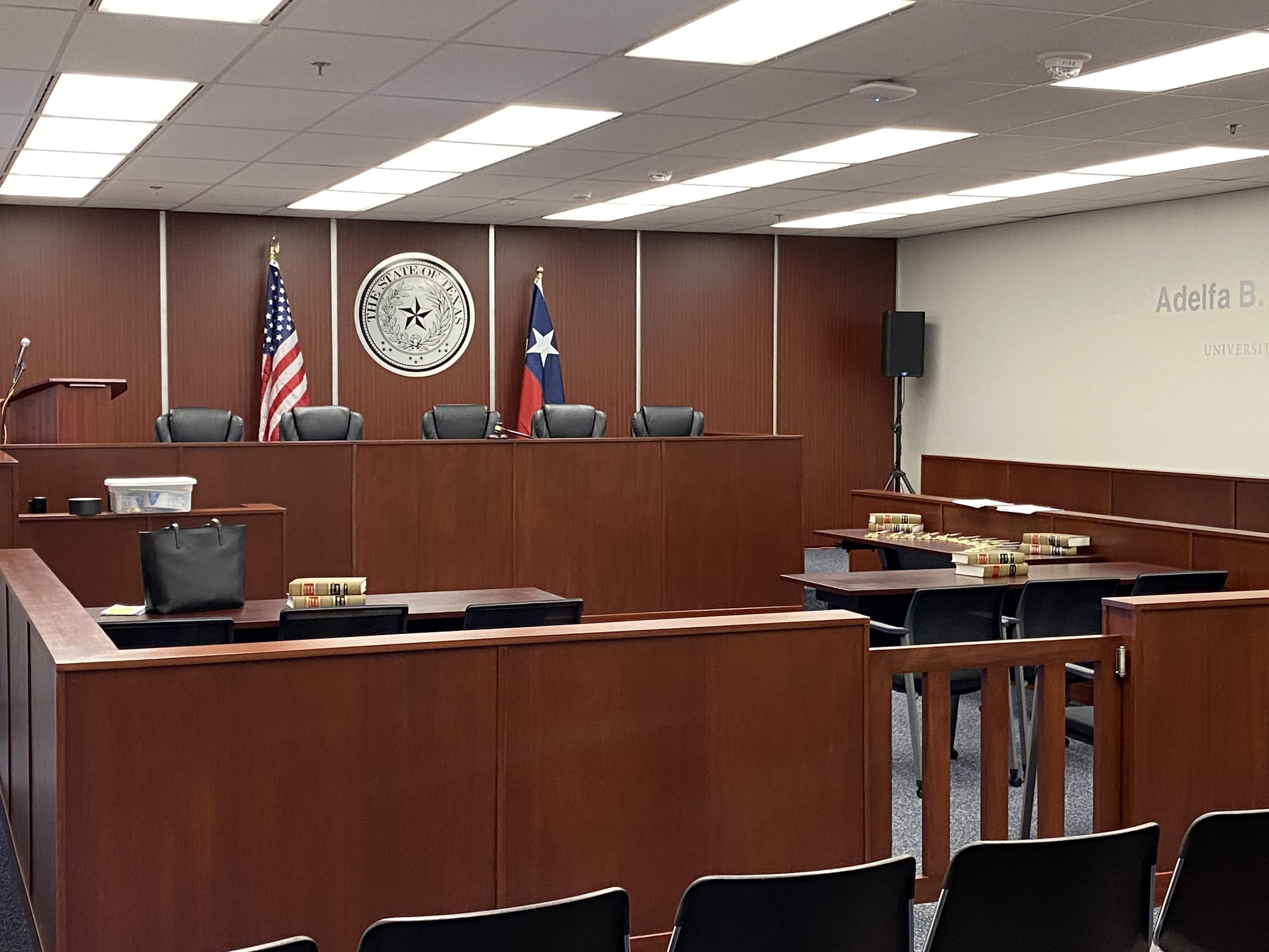Amber White mock courtroom trial facility