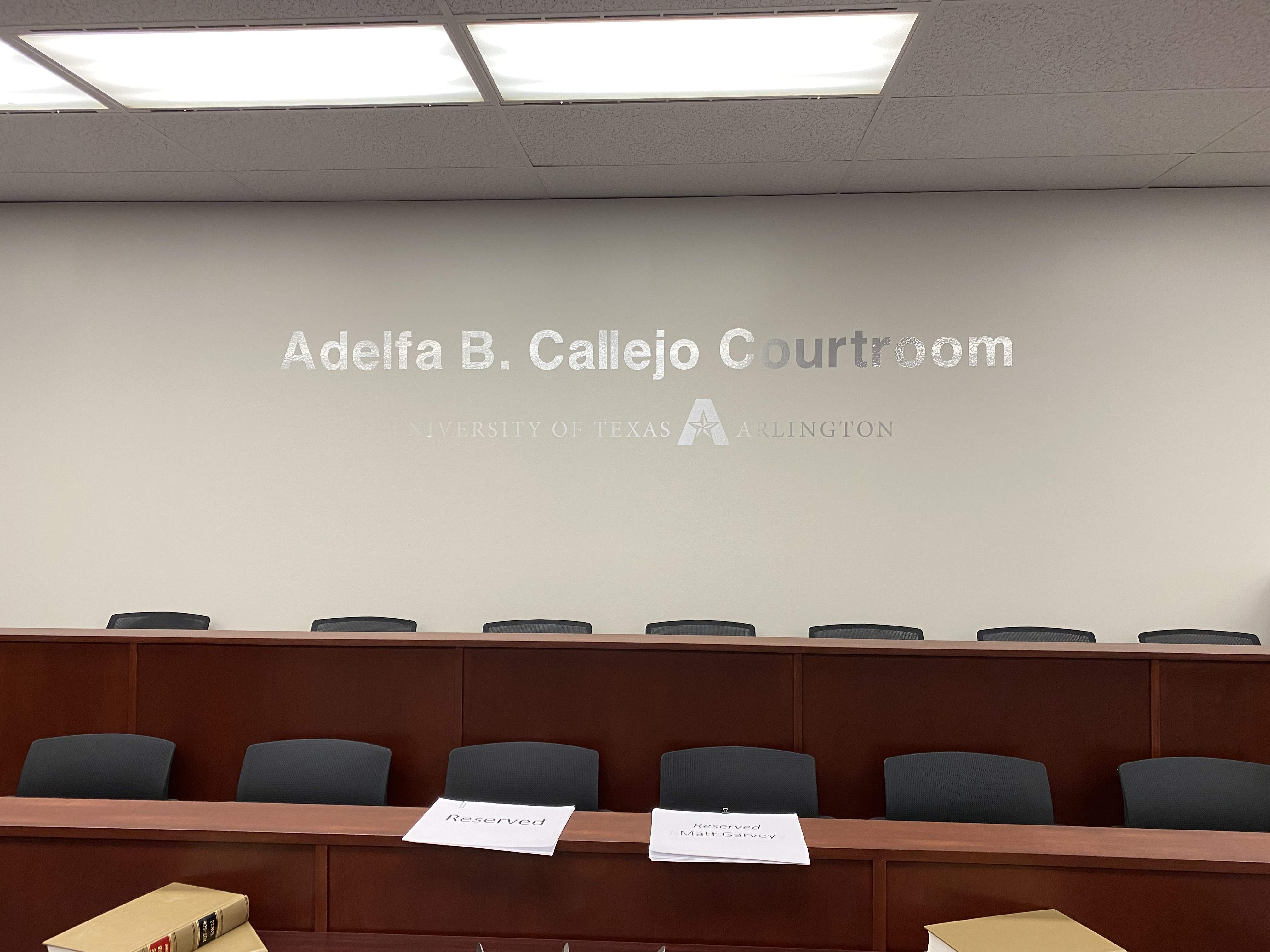 Amber White mock courtroom jury stand