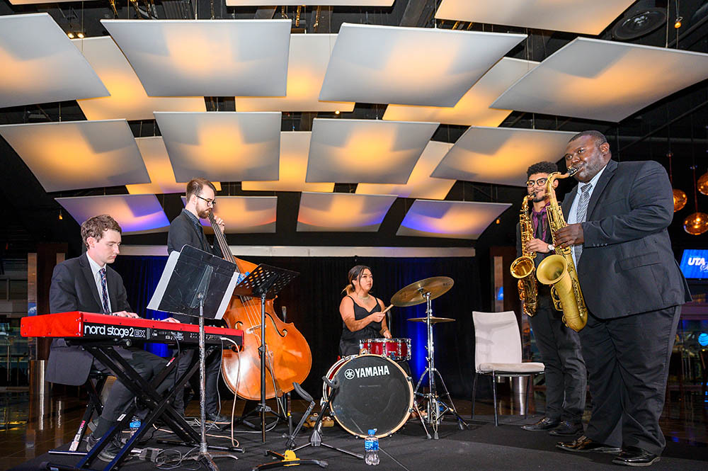 jazz ensemble playing at an event