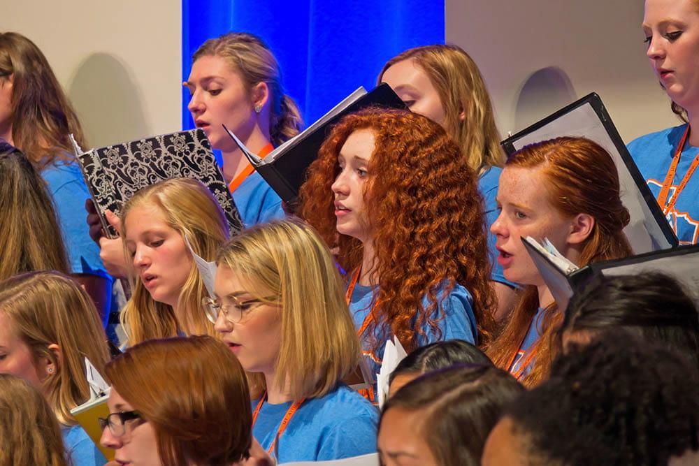 students singing at choir camp