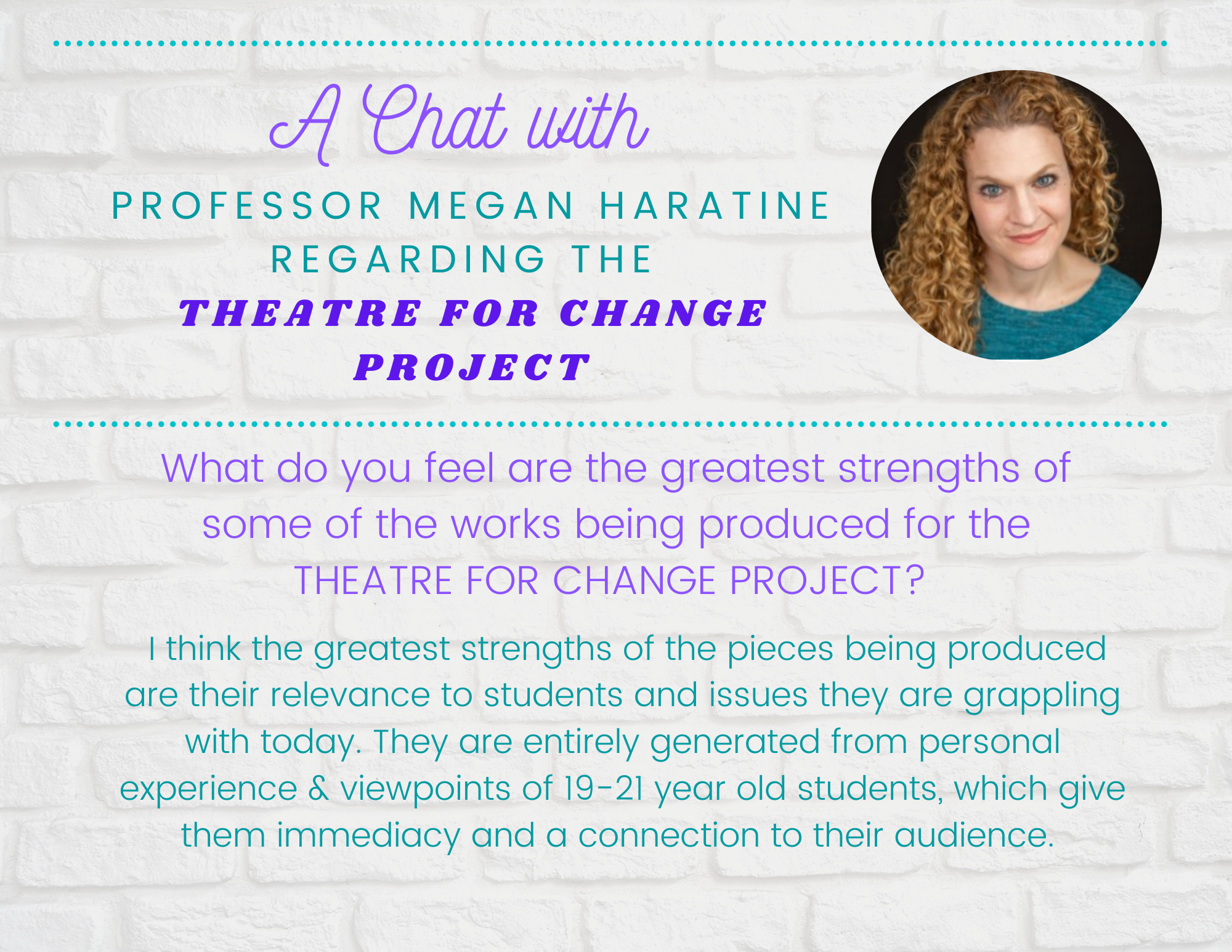 Theatre For Change Flyer page 1