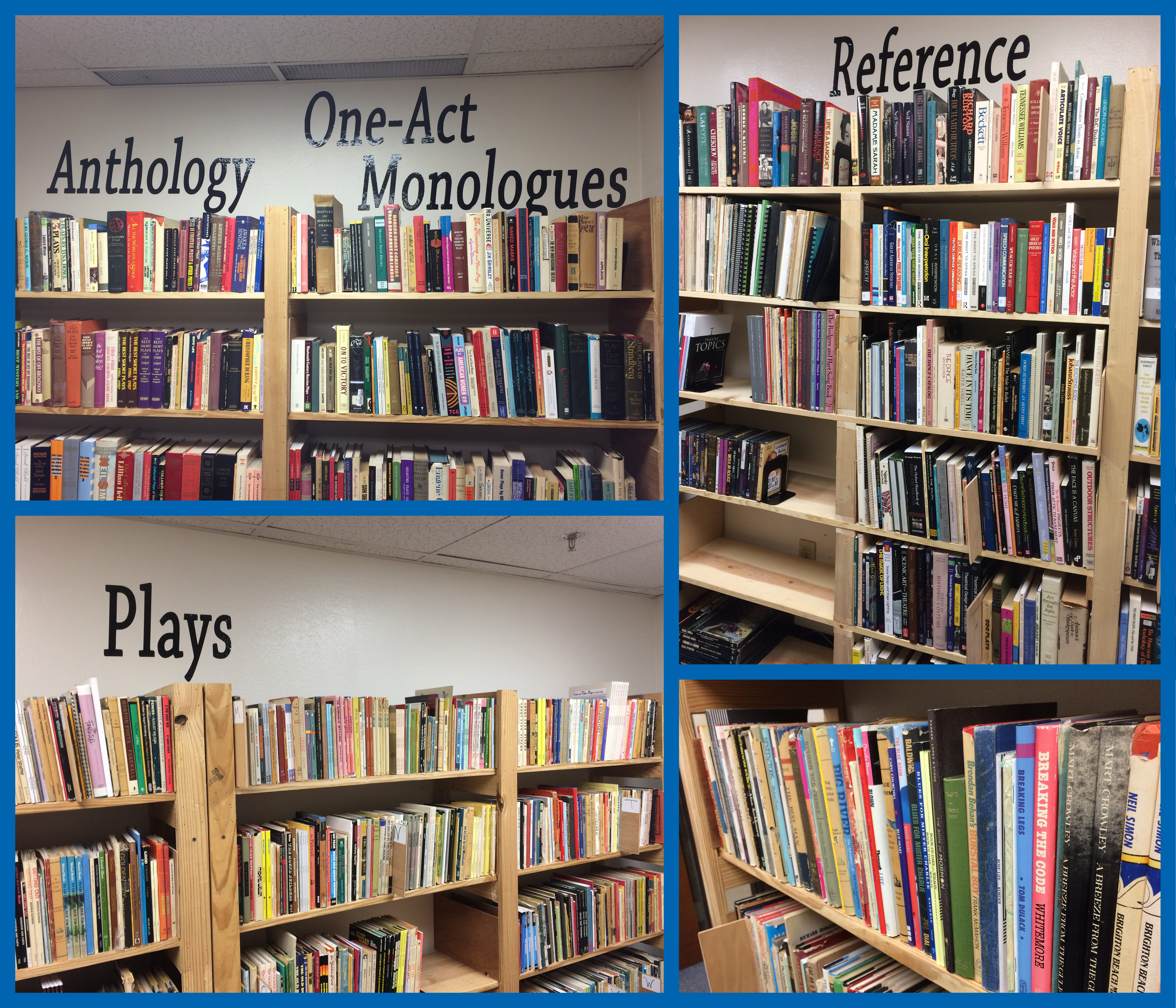 collage of theatre library sections