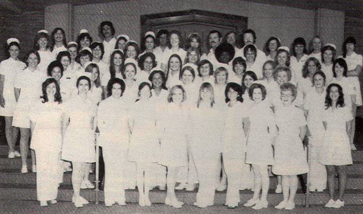 Graduating class of 1974 consisting of about 55 students from the U T School of Nursing at Fort Worth