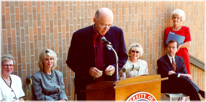 U T A President Nedderman speaking at a ceremony for Dr. Myrna Pickard in 1995, where the Nursing Building was renamed Pickard Hall in her honor.