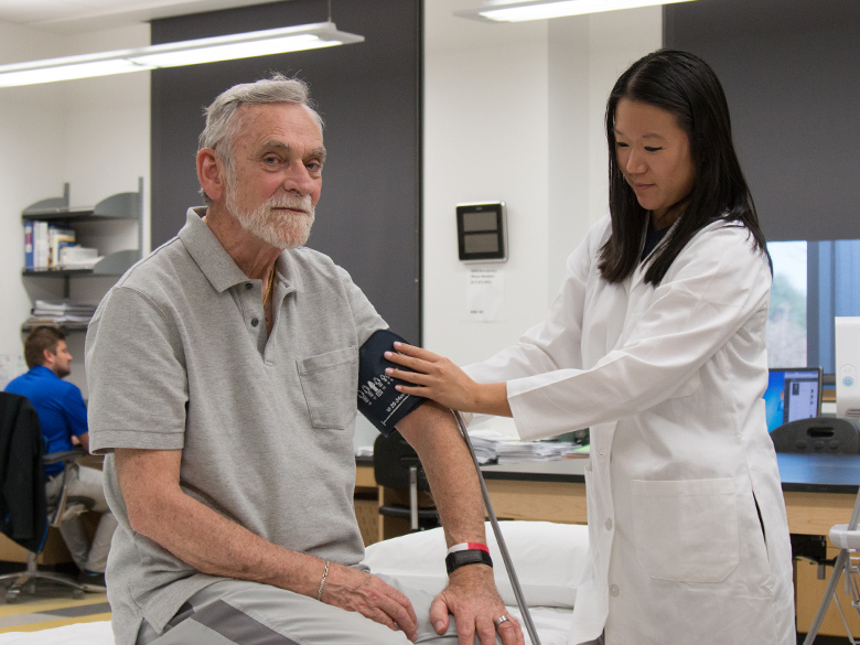 A geriatric patient receives primary care from a student