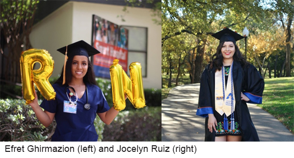 Portrait of Efret Ghirmazion wearing a grad cap holding R.N. balloons. And Jocelyn Ruiz in a park wearing a grad cap, gown and sash.