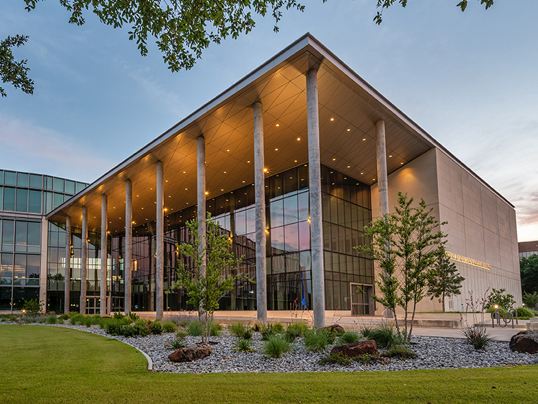 Outside view of Science and Engineering Innovation & Research (SEIR) building during sunset.