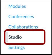 Studio link in canvas course navigation