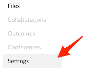 settings highlighted in canvas course menu