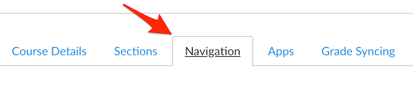navigation tab in canvas course settings