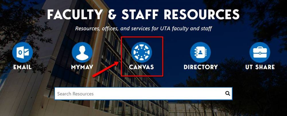 illustrates location of Canvas button on Faculty Staff page