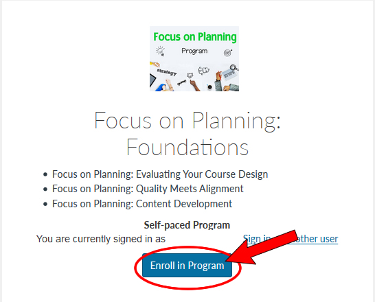 Screenshot of a program listing with the Enroll in program button highlighted.