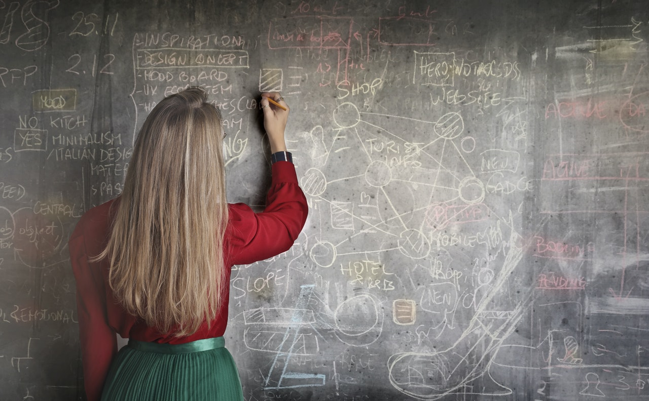 Teacher in a classroom writing on a chalkboard
