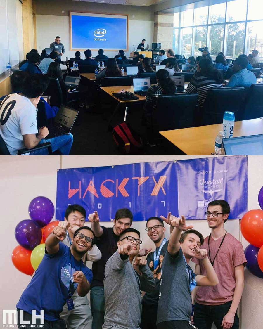 Students at a Blockchain student organization meeting and students at a hackathon.