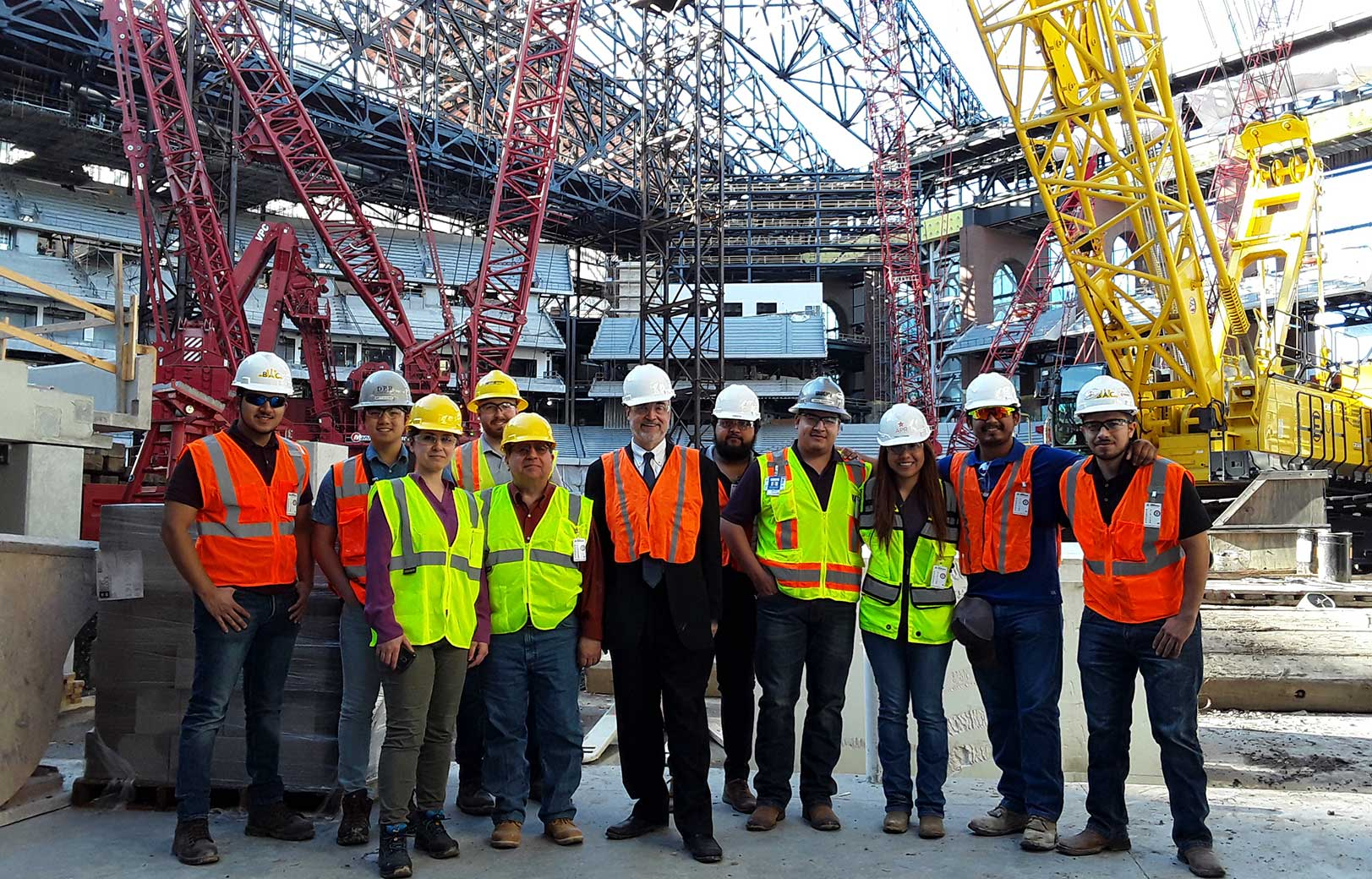 UTA construction management students toured the Texas Rangers