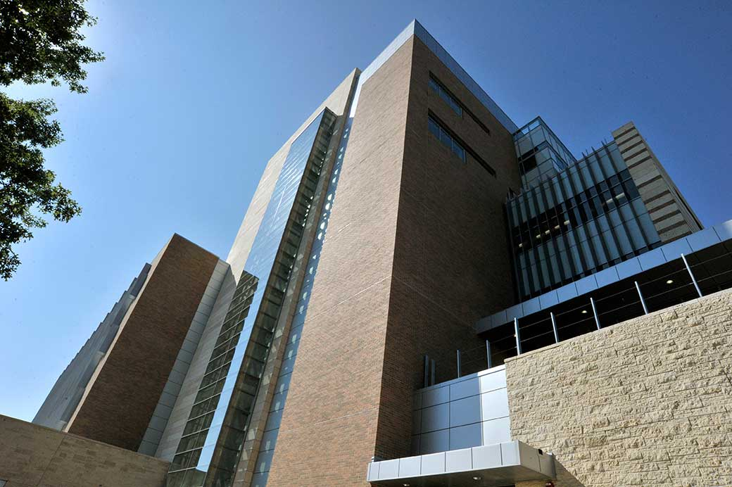 UTA Engineering Research Building photo of corner rising high above viewer