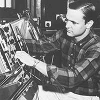 A student adjusts equipment