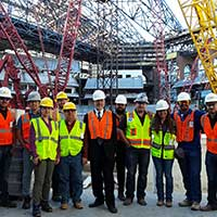 Construction Management students on a tour of the Globe Life Field construction site