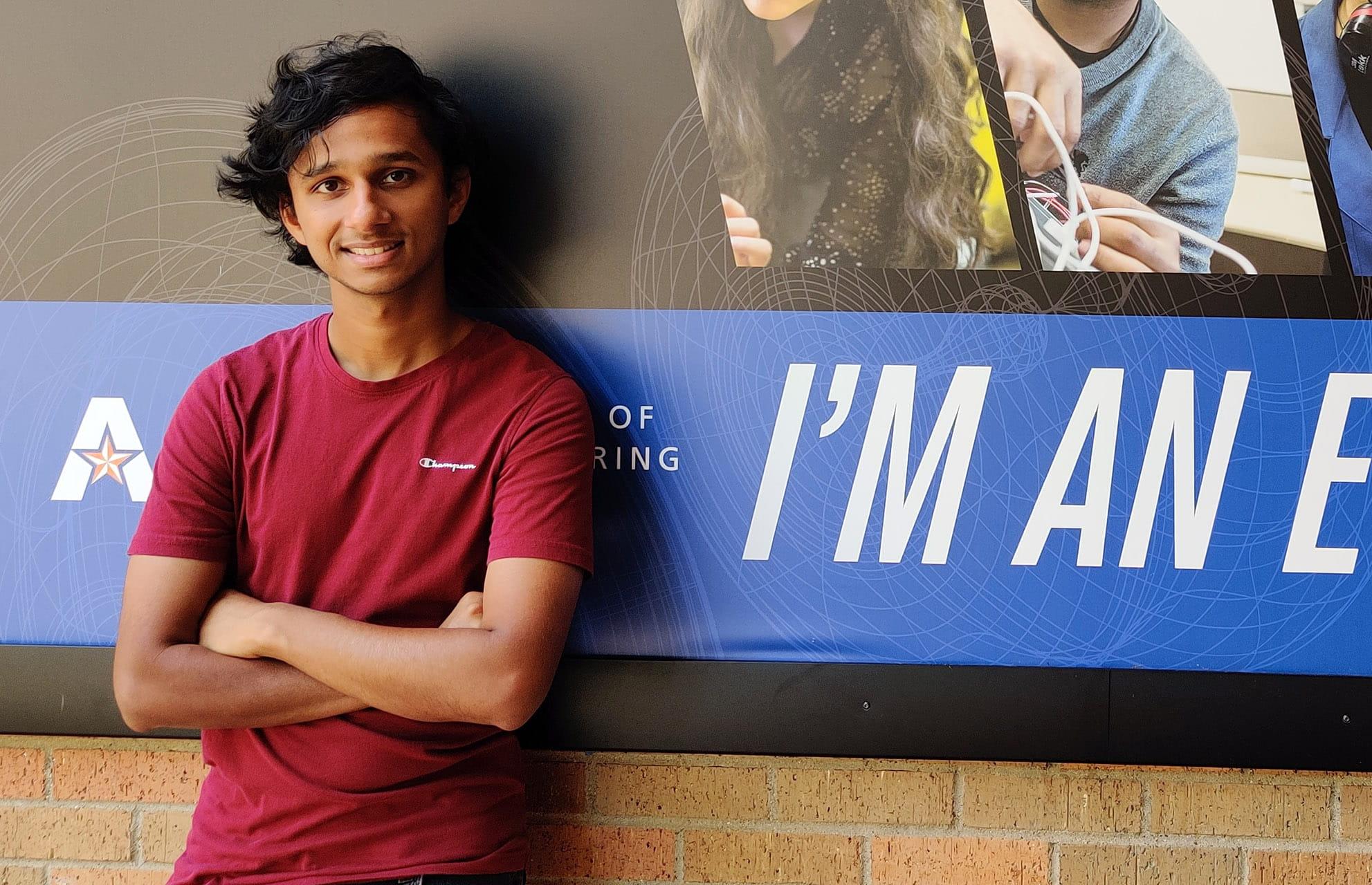 UTA electrical engineering student Binoy George