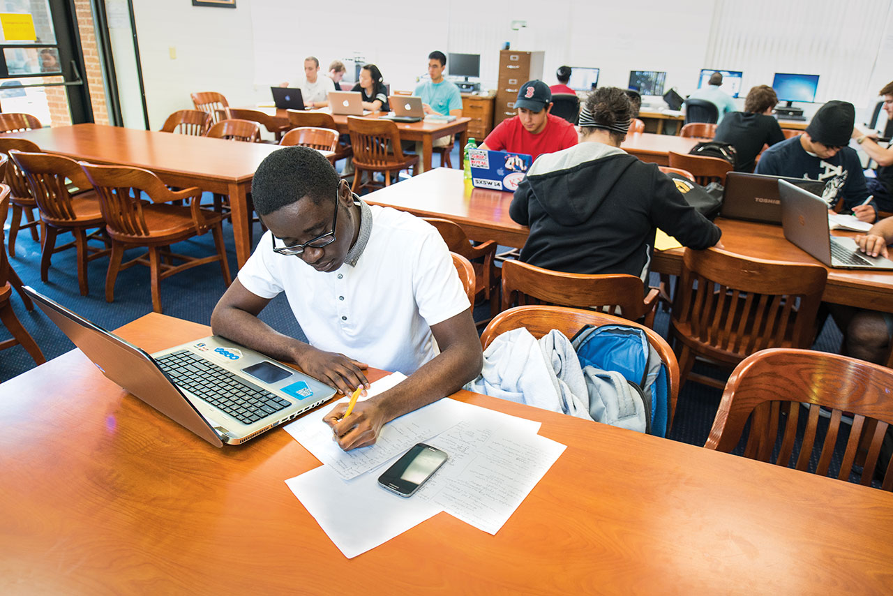 Honor college students studying