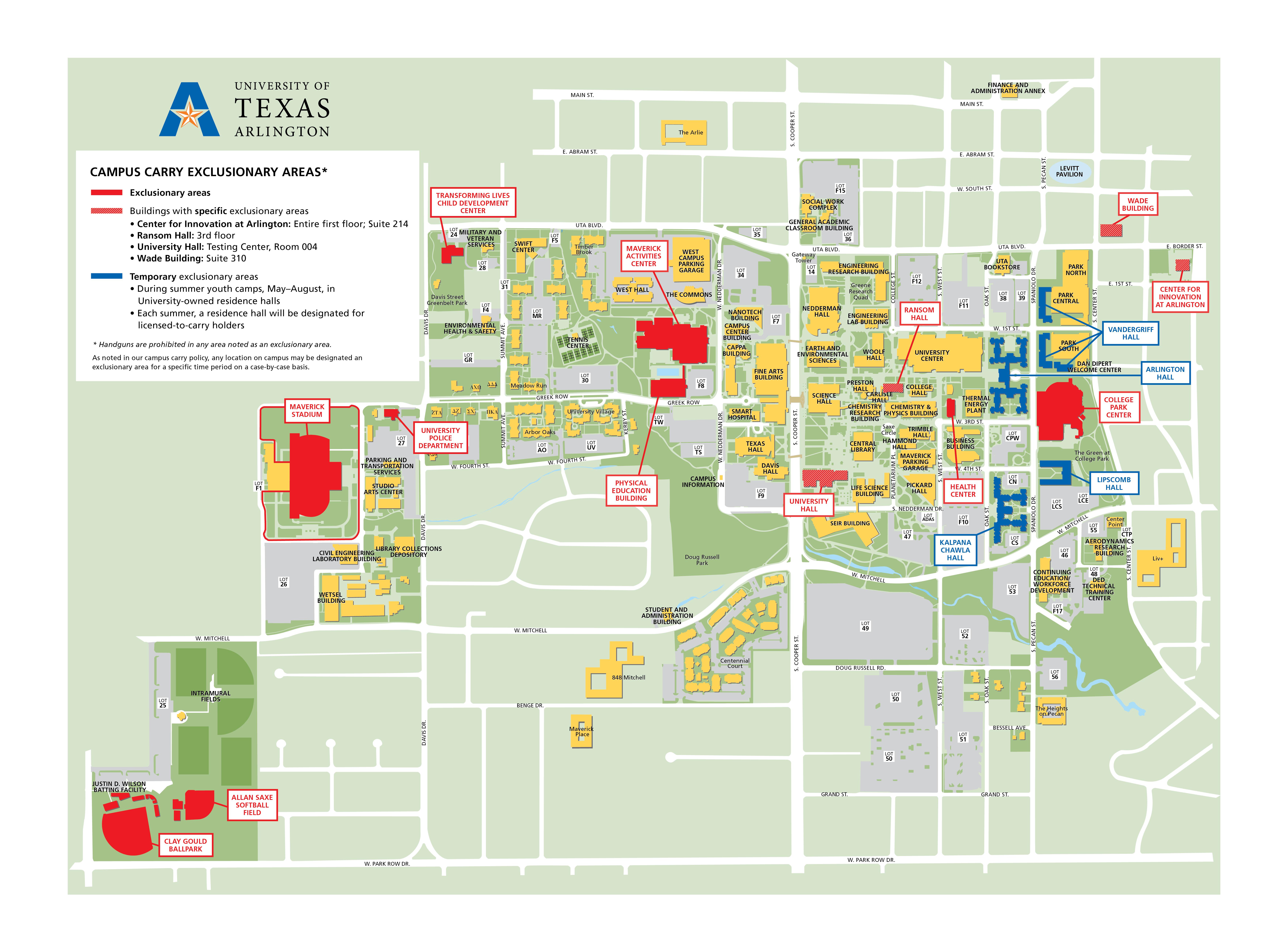 university of texas at arlington campus map Campus Carry Exclusion Areas The University Of Texas At Arlington