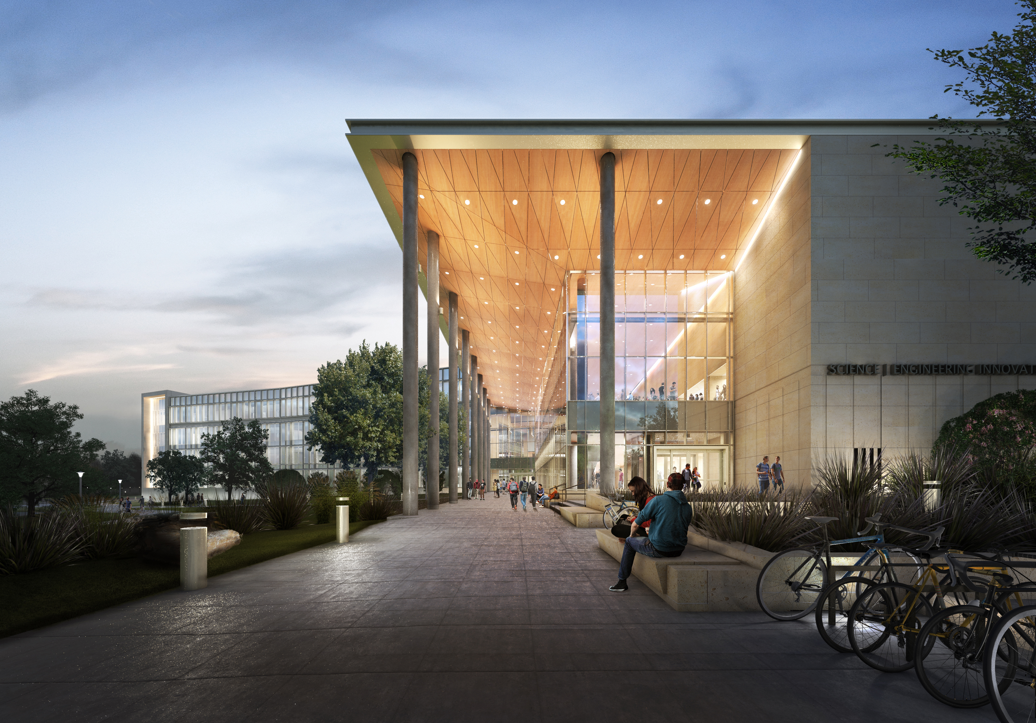 Night rendering of the SEIR building