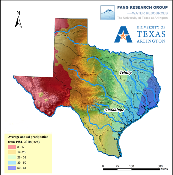 UTA map showing annual precipitation rates in Texas