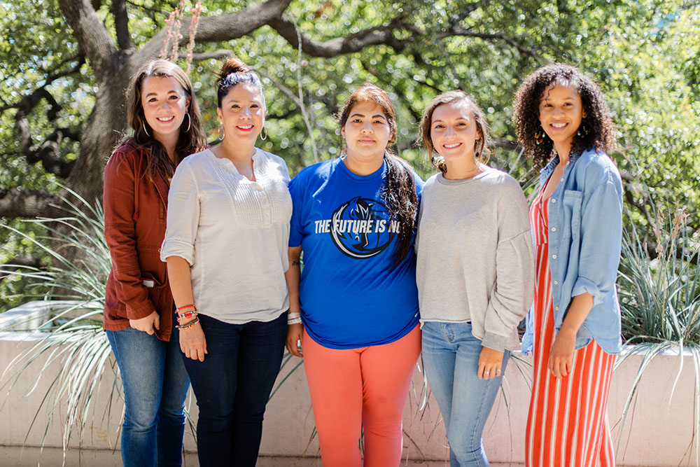 Nancy Ochoa (center) with, from left, Anna Hurst, Allison Robinson, Madison Roof and Victoria Moore, all with UTA's School of Social Work.
