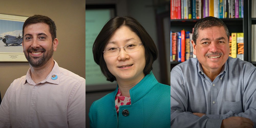 UTA's Daniel Welling, assistant professor of physics, and Yue Deng and Ramon Lopez, professors of physics