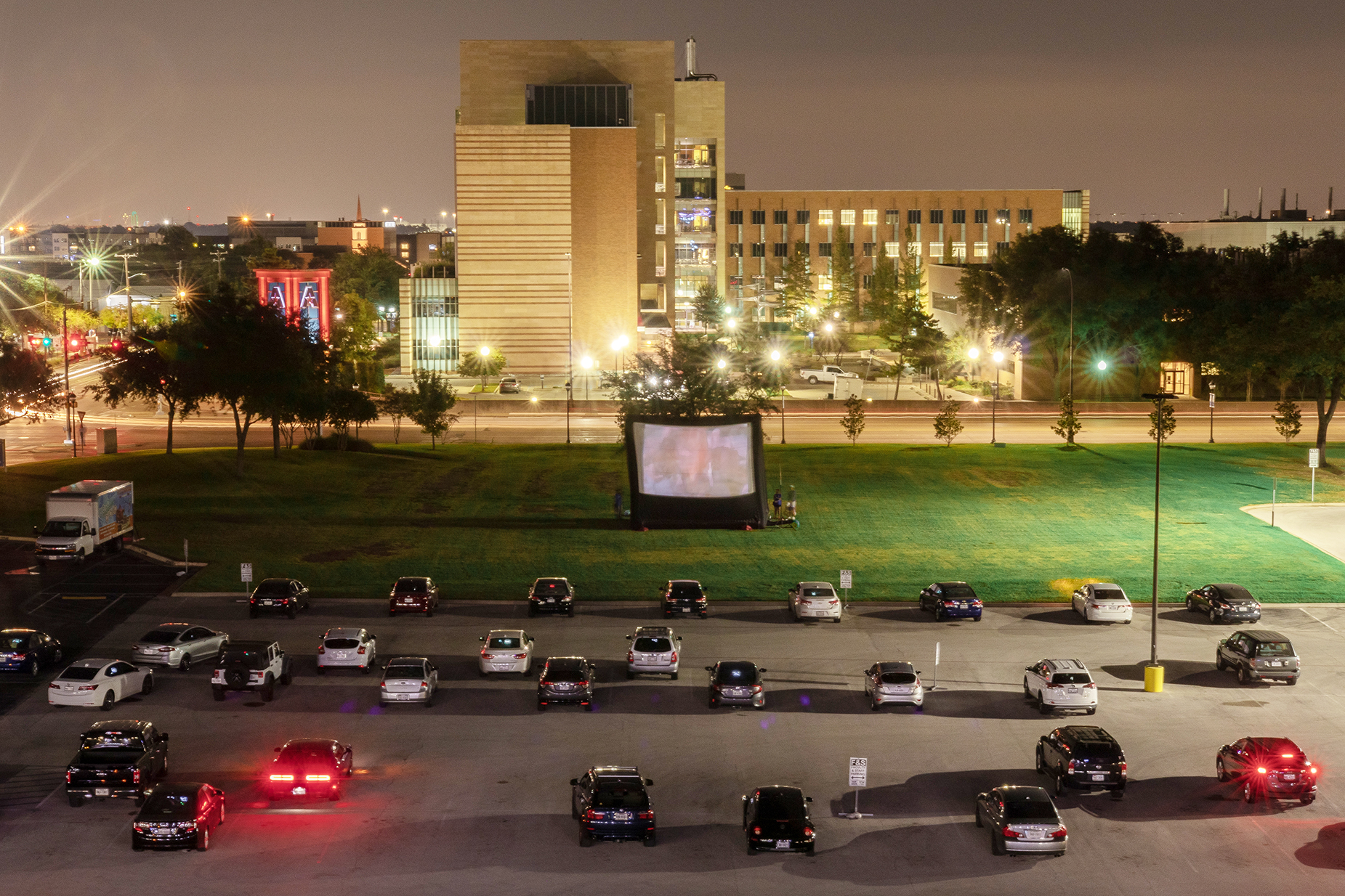 Drive-In movie in U-T-A parking lot