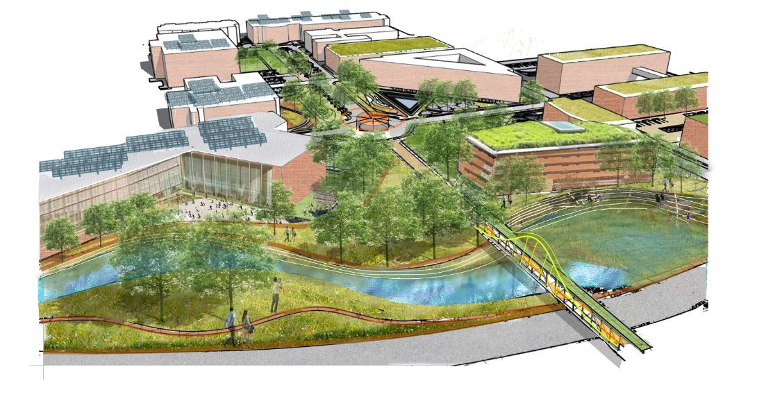 From the winning entry, a proposed design for UTA's new Health Sciences Quad.