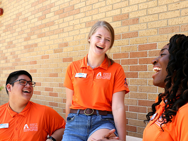 Orientation leaders laughng together