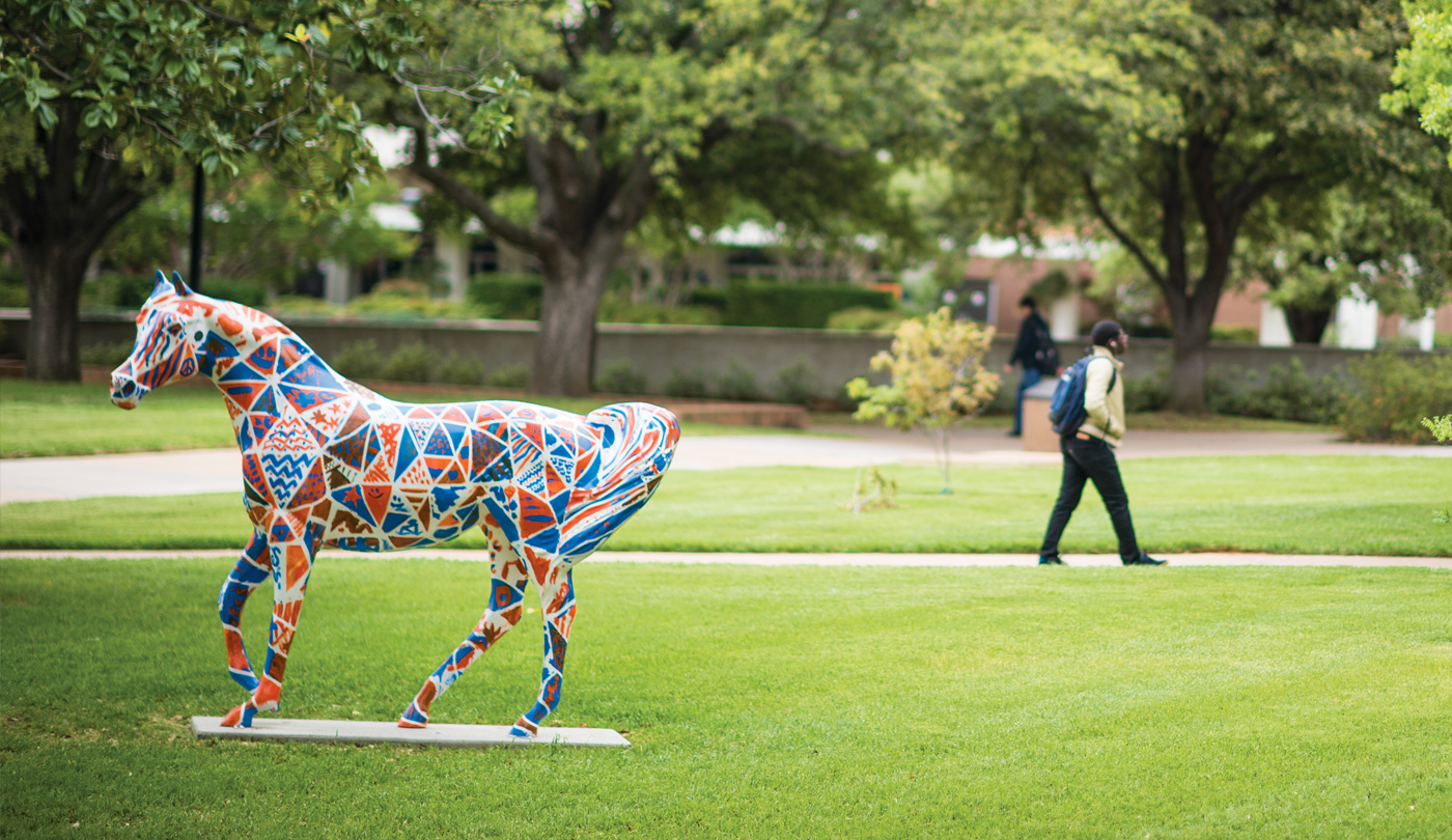Spirit horse statue in the Library Mall