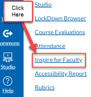 canvas screenshot that shows where to click to find Inspire for Faculty